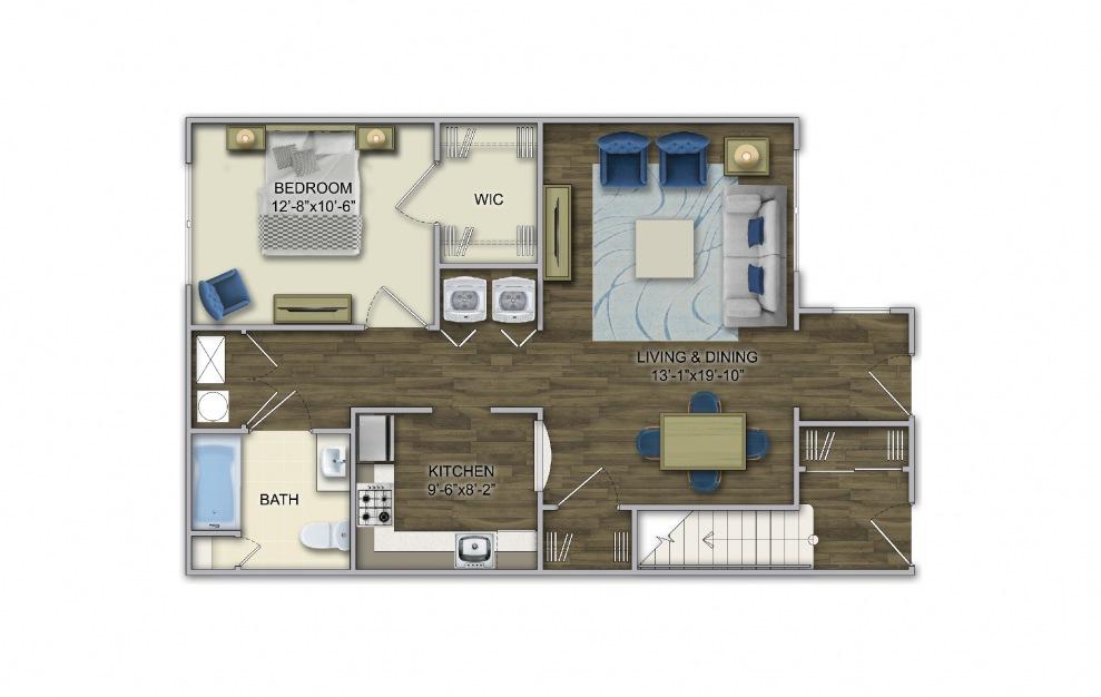 A1 1 Bed 1 Bath Floorplan