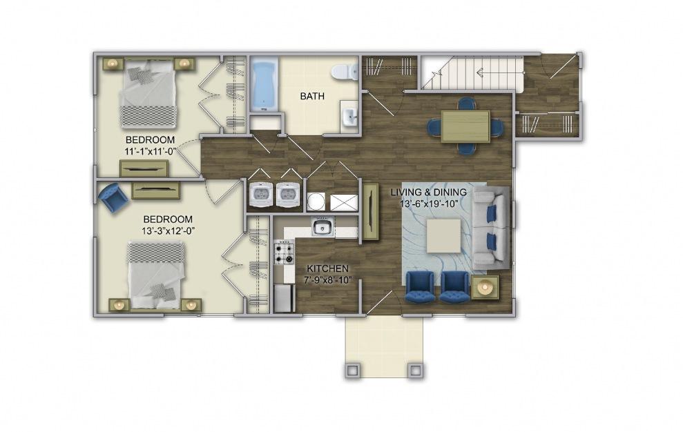 A3 2 Bed 1 Bath Floorplan