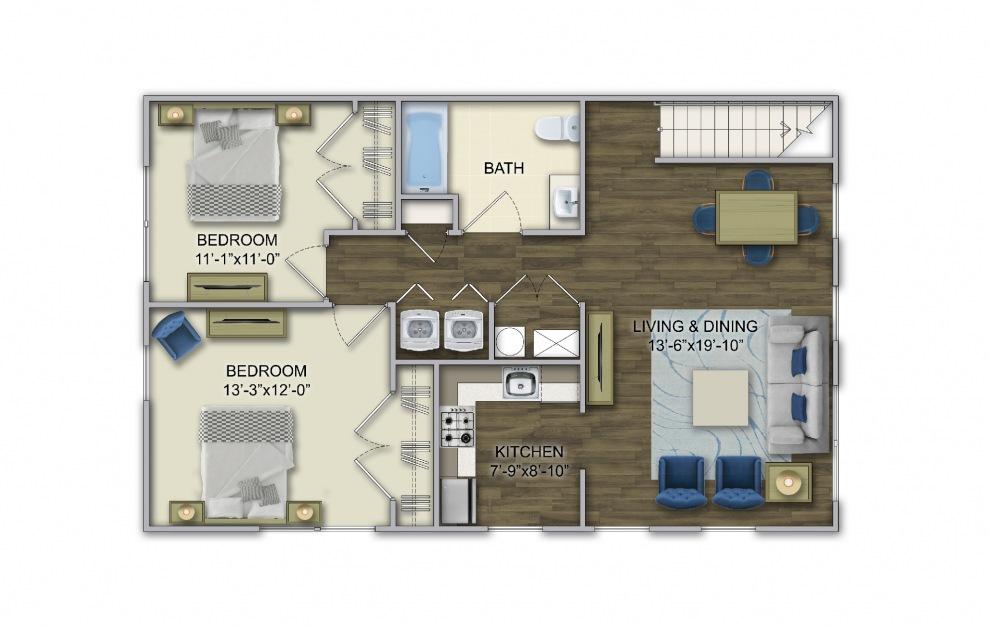 A4 2 Bed 1 Bath Floorplan