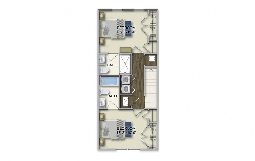 T-1A 2 Bed 2.5 Bath Floorplan
