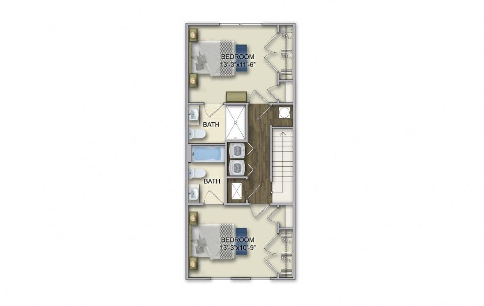 T-1B 2 Bed 2.5 Bath Floorplan