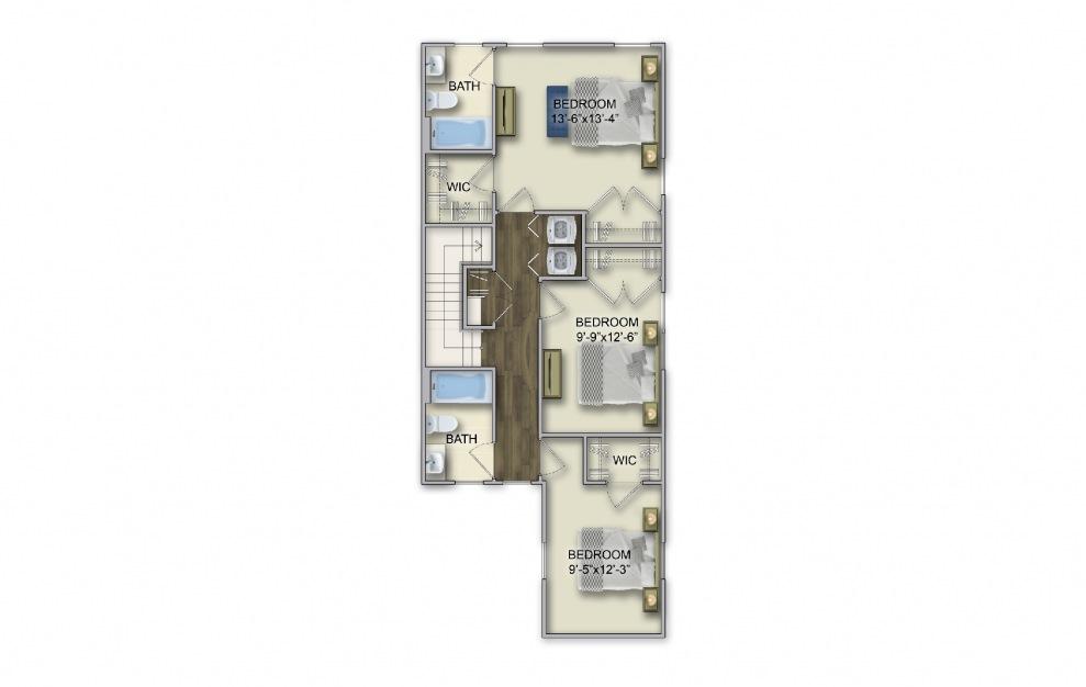 T-2 3 Bed 2.5 Bath Floorplan